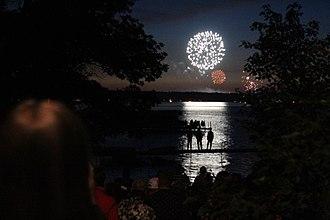 Chautauqua Institution - Fireworks above Chautauqua Lake on the fourth of July