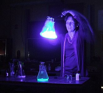 Chemiluminescence - A chemoluminescent reaction in an Erlenmeyer flask