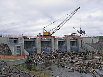 2008 Tanana Valley flood - Engineers clear debris from behind Beaver Creek Dam at the Chena River Lakes Flood Control Project following the flood.