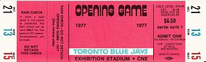 1977 Toronto Blue Jays season - A ticket from the Blue Jays' first regular season game.