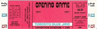 History of the Toronto Blue Jays - A ticket from the Blue Jays' first-ever regular-season game