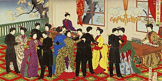 Rokumeikan - Ukiyoe by Chikanobu depicting dancing at the Rokumeikan