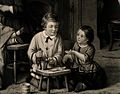 Children playing at being doctors and pharmacists, mother Wellcome V0017092.jpg