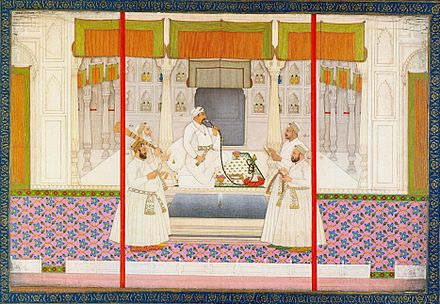 The Mughal Emperor Muhammad Shah was one of the most important patrons of Qawwali and is widely credited for its cultural advancement. Chitarman II, Emperor Muhammad Shah with four courtiers, smoking huqqah, ca. 1730, Bodleian Library, University of Oxford.jpg