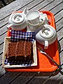 Chocolate cake and tea service.jpg