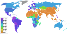 Christianity percentage by country (2008).png