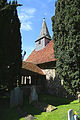 Church of St Michael, Leaden Roding, Essex, England - south porch, nave and spire.jpg