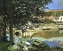 On the Bank of the Seine, Bennecourt, 1868. An early example of plein-air impressionism, in which a gestural and suggestive use of oil paint was presented as a finished work of art.