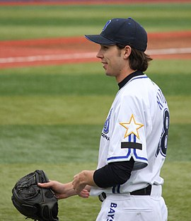 Clayton Hamilton, pitcher of the Yokohama BayStars, at Yokohama Stadium.JPG