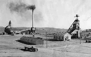 Gallup, New Mexico - American Coal Company mine and plant, Gallup, circa 1920. Early coal mining here supplied the railroad's steam locomotives.