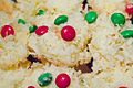 Coconut macaroons with M&Ms, December 2011 (6508603031).jpg
