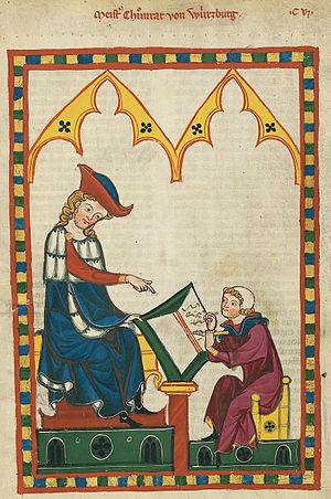 Konrad von Würzburg - Portrait of Konrad von Würzburg from the Codex Manesse (folio 383r).