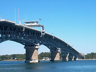 George P. Coleman Memorial Bridge - The Coleman Bridge as seen from Yorktown as it connects with Gloucester Point.