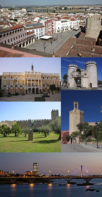 Badajoz - Top:Plaza Alta (High Square), Second left:Ayuntamiento de Badajoz (Badajoz City Hall), Second right:Puerta de Palmas (Palms Gate), Third left:Alcazaba de Badajoz, Third right:Torre de Espantaperros (Scaredogs Tower), Bottom:A twilight view of Guadiana River and Badajoz Royal Bridge