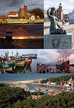 Collage of views of Ustka: lighthouse, beach in Ustka, mermaid , boats in the port, the entrance to the port, the port in Ustka bird's eye view