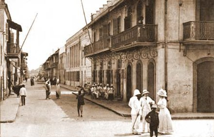 Colonial Saint Louis c. 1900. Europeans and Africans on the Rue Lebon. Colonial Saint Louis.jpg