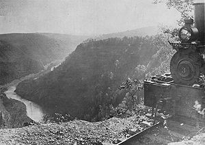Colton Point State Park - A Shay locomotive from the Leetonia lumber railroad and the nearly clearcut Pine Creek Gorge, at one of the lookouts in what is now the park.