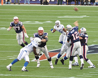 Promotion and relegation - The New England Patriots against the Indianapolis Colts in 2011. No matter how many games won or lost during the season, these two teams will continue to compete in the National Football League.