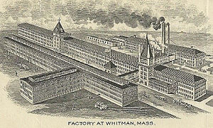 Commonwealth Shoe and Leather Co. - 1911 engraved depiction of the Whitman factory complex