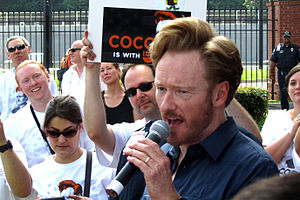 Conan (talk show) - Conan O'Brien at a supporter rally held outside TBS headquarters in Atlanta, Georgia in June 2010