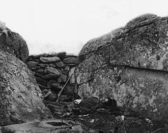 Alexander Gardner (photographer) - The home of a Rebel Sharpshooter, Gettysburg (1863)