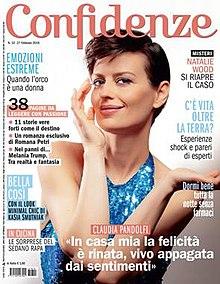 Claudia Pandolfi nella copertina della rivista Confidenze, 27 febbraio 2018