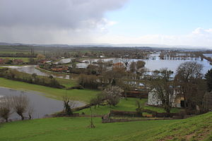 Winter flooding of 2013–14 on the Somerset Levels - Confluence of the Rivers Parrett and Tone at Burrowbridge during flooding in February 2014