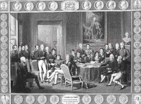 Le congrès de Vienne par Jean Godefroy(voir carte de l'Europe de Vienne)1Arthur Wellesley, 2Joaquim Lobo da Silveira(en), 3António de Saldanha da Gama(en), 4Carl Löwenhielm, 5Jean-Louis-Paul-François de Noailles, 6Klemens Wenzel von Metternich, 7Frédéric-Séraphin de La Tour du Pin Gouvernet, 8Karl Robert von Nesselrode, 9Pedro de Sousa Holstein, 10Castlereagh, 11Emmerich Joseph von Dalberg, 12Johann von Wessenberg, 13Andreï Razoumovski, 14Charles Vane, 15Pedro Gómez Labrador(en), 16Richard Trench(en), 17Nikolaus von Wacken, 18Friedrich von Gentz, 19Wilhelm von Humboldt, 20William Cathcart, 21Karl August von Hardenberg, 22Talleyrand, 23Gustav Ernst von Stackelberg