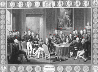 The Congress of Vienna met in 1814-15. The objective of the Congress was to settle the many issues arising from the French Revolutionary Wars, the Napoleonic Wars, and the dissolution of the Holy Roman Empire. Congress of Vienna.PNG