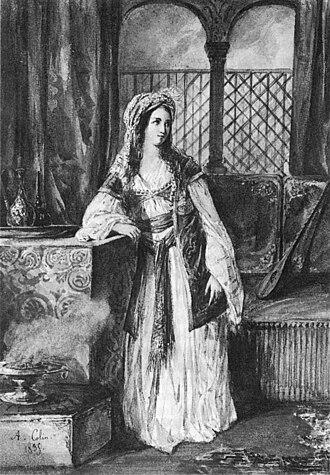 La Juive - Cornélie Falcon as Rachel, the title role, portrait by A.Colin (1835)