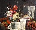 Cornelis Norbertus Gijsbrechts - Vanitas still life with flowers, skull, documents and miniature portrait of the artist.jpeg