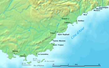 Map showing the extent of the Côte d'Azur.