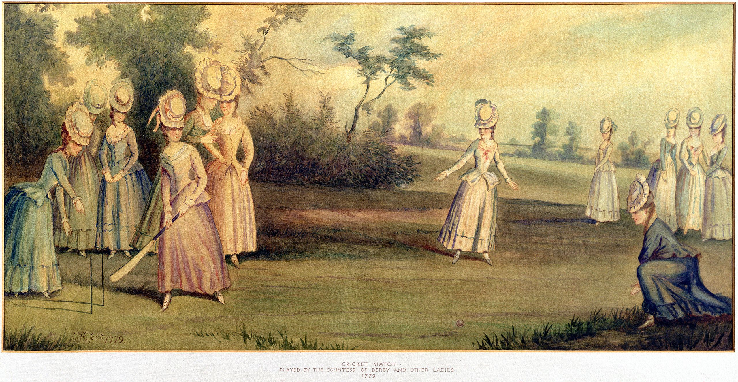 A 1779 cricket match played by the Countess of Derby and other ladies. (Wikipedia)