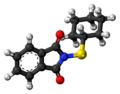 Cyclohexylthiophthalimide molecule ball.png
