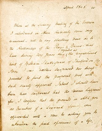 """Edwin Durning-Lawrence - Page from """"Some reflections on the life of William Shakespeare"""" purportedly written in 1805 by James Cowell"""