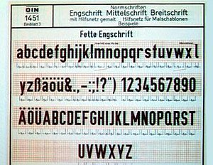 DIN 1451 - Early DIN-Fette Engschrift specimen. Fette Engschrift is a single weight of the DIN 1451 typeface.