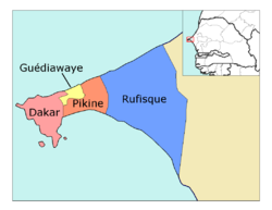 Dakar région, divided into 4 départements