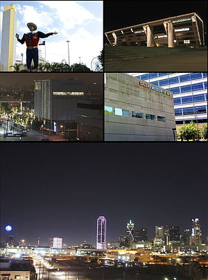 Clockwise from top left: State Fair of Texas at Fair Park, Dallas City Hall, Dallas Museum of Art, Downtown Dallas skyline with holiday lighting, and the Dee and Charles Wyly Theatre at the AT&T Performing Arts Center in the Dallas Arts District.