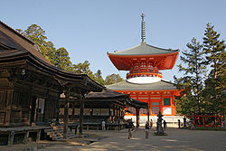View of sightseeing of Mount Koya spot, with one of UNESCO World Heritage site
