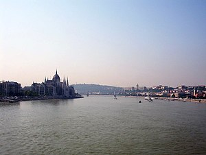 Danube at Budapest, Margit Bridge.jpg