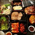 Delivery food with kimchi, meat and salads.jpg