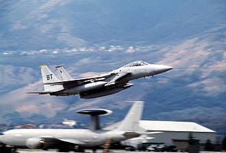 Operation Sky Monitor - A US Air Force F-15C takes off on a sortie to enforce the no-fly zone during Operation Deny Flight