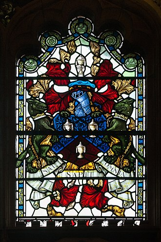 Worshipful Company of Salters - Crest of the Salters in a window presented in 1913 to the Guildhall in Londonderry.