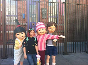 Universal Studios Hollywood - Costumed Despicable Me Three Girls are in Universal Studios Hollywood.