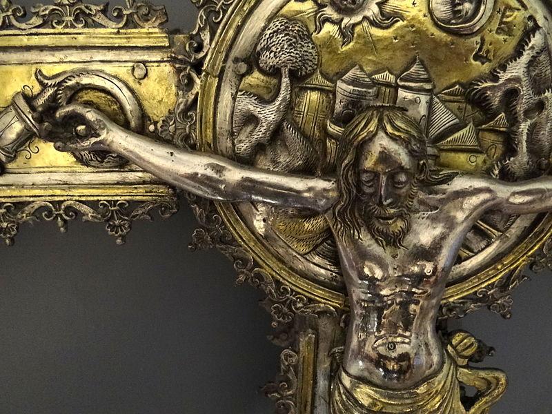 File:Detail of Silver Processional Crucifix - Museo Nacional del Virreinato - Tepotzotlan - Mexico.jpg