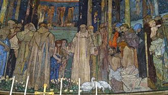 Frank Brangwyn - Detail of mosaic by Frank Brangwyn at St Aidan's Church, Leeds, showing St Aidan with his followers