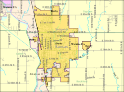 Detailed map of Derby, Kansas.png