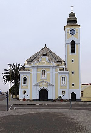 Swakopmund - The Deutsche Evangelisch-Lutherische Church in the centre of Swakopmund, Namibia.