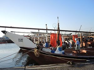 Dhow - Fishermen's dhows moored at Dubai in 2014