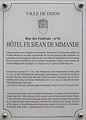 Dijon Hotel Filsjean de Mimande plaque information.jpg